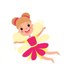 cute happy fairy in pink dress with wings flying vector image