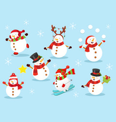 Cute snowman set 2 vector