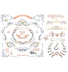Cute wedding template setFloral Decor elements vector