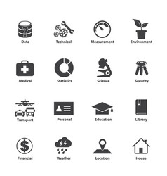 Data type icon set different kinds data vector