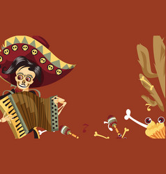 day of the dead man skeleton in mexican suit vector image