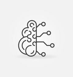 digital brain outline icon tech mind vector image