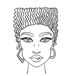 Doodle girls face womens portrait for adult vector