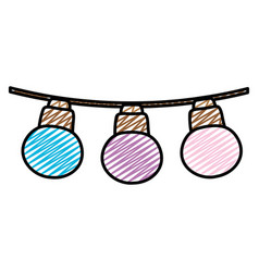 Doodle nice bulbs hangings decoration style vector