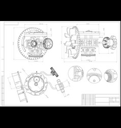 drawing and 3d model gear mechanism on a white vector image
