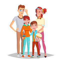 family in cinema movie isolated vector image