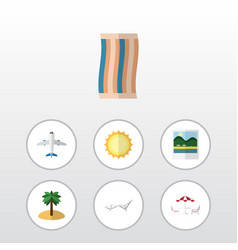 Flat icon summer set of deck chair reminders vector