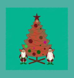flat shading style icon christmas tree santa claus vector image