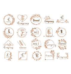 floral border and logo design templates han vector image