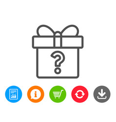 Gift box with question mark line icon present vector