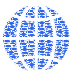 Globe composition of fish icons vector