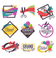 grand opening isolated icons ribbon and scissors vector image