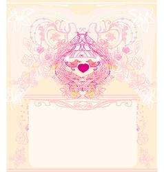 Greeting card with 2 sweet love birds - wedding vector