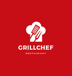 grill chef hat restaurant logo icon vector image