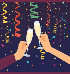 Hands holding champagne glasses celebrating vector