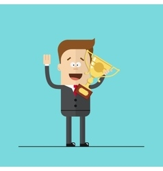 Happy businessman or manager with the award in his vector
