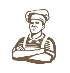 happy chef logo restaurant cooking cuisine vector image