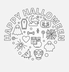happy halloween round holiday outline vector image