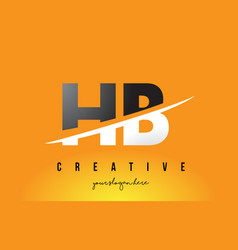 Hb h b letter modern logo design with yellow vector