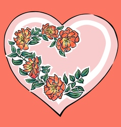 Hearth with red flowers vector