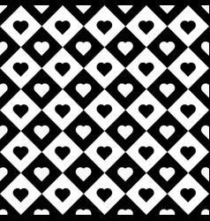 hearts in rhombus seamless pattern vector image