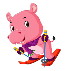 Hippo playing skiing vector