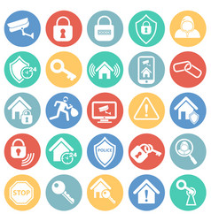 home security set on color circles background vector image