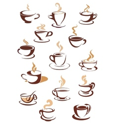 hot brown coffee icons vector image
