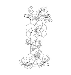 Letter I coloring book for adults vector image
