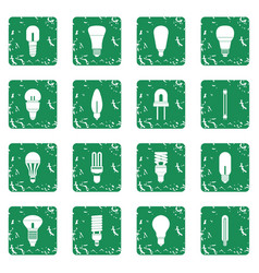 Light bulb icons set grunge vector