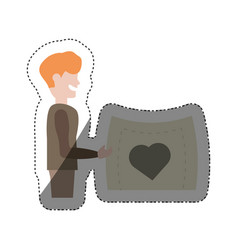 man holding card heart lovely shadow vector image