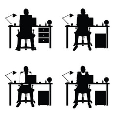 man silhouette set with laptop and desk part two vector image