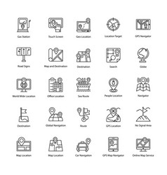 Maps and navigations line icons set vector