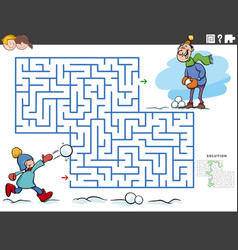 Maze educational game with boy and dad on winter vector