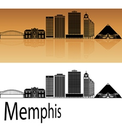 Memphis skyline in orange vector