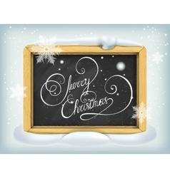 Merry Christmas lettering on blackboard vector image