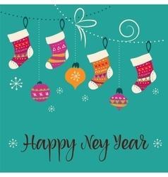 Merry Christmas - Xmas socks greeting card vector image