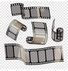 old film strip with transparency on a transparent vector image