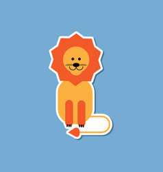 Paper sticker on stylish background cartoon lion vector