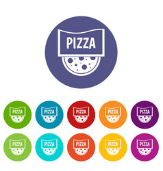 Pizza with sausage tomatoes and olives icons vector