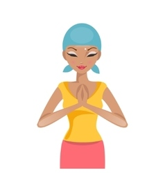 Praying woman cancer patient vector image
