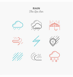 rain downpour and more thin line color icons vector image
