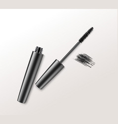 Realistic mascara brush strokes on background vector