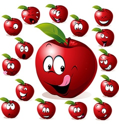 Red apple with many expressions vector