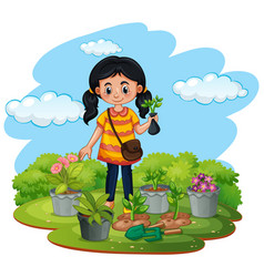scene with kid planting trees in garden vector image