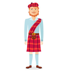 Scottish man in kilt in national clothes flat vector