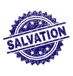 Scratched textured salvation stamp seal vector