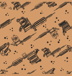 seamless pattern with tattoo machines design vector image