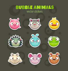 set of cartoon cute round animal faces vector image