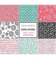 set seamless stroke patterns hand-drawn vector image